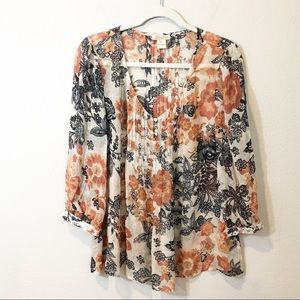 Lucky Brand Sheer Floral Paisley Blouse